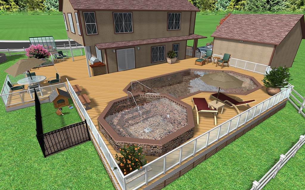 Landscape design software image gallery for Raised swimming pool designs